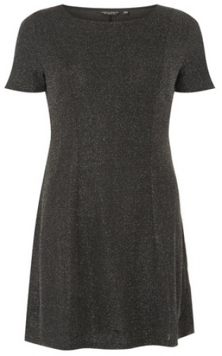 Dorothy Perkins Silver Glitter Fit And Flare Dress