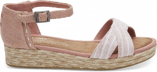 Toms Bloom Chambray Stripe Youth Harper - Size UK5 / US6 Wedge