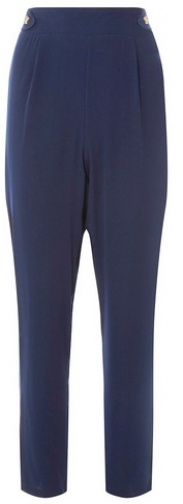 Dorothy Perkins Womens Navy Tortoiseshell Button Joggers- Navy, Navy Athletic Pant