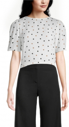 Ann Taylor Factory Petite Dotted Mixed Media Tee T-Shirt