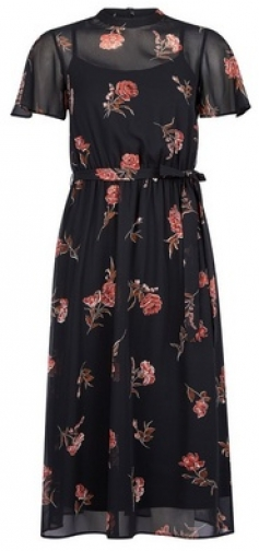 Dorothy Perkins Petite Black Floral Print Belted Fit And Flare Dress