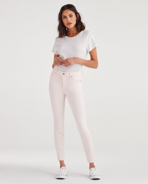 7 For All Mankind Women's High Waist Ankle Skinny Pink Sunrise Trouser