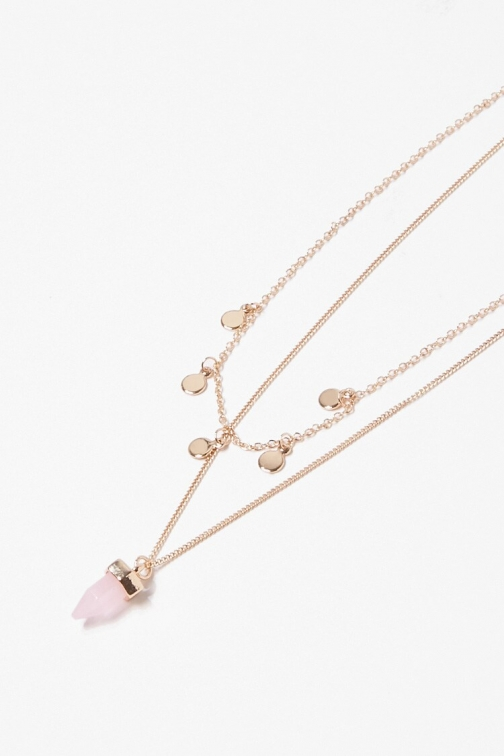 Forever21 Forever 21 Faux Crystal & Disc Necklace Set , Gold/pink Jewellery