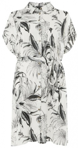 Dorothy Perkins Womens **DP Curve Monochrome Tropical Floral - Black, Black Shirt Dress