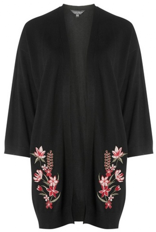 Dorothy Perkins Womens **Tall Black Embroidered Front - Black, Black Cardigan