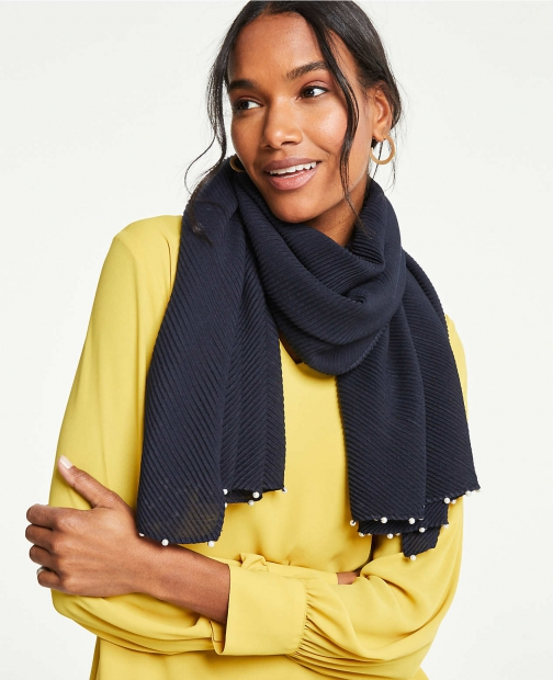 Ann Taylor Pleated Pearlized Scarf