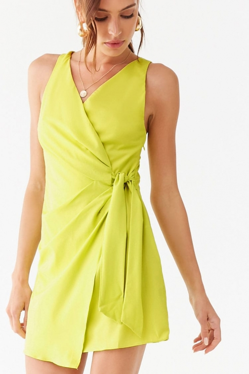 Forever21 Forever 21 Surplice Tie-Front , Lime Mini Dress