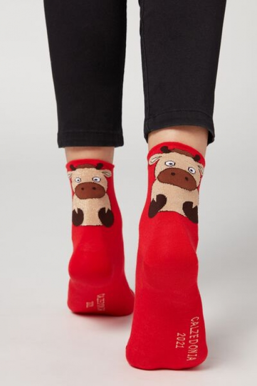 Calzedonia Chinese New Year Pattern Cotton Ankle Woman Red Size TU Sock