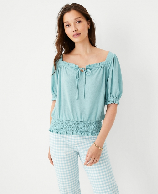 Ann Taylor Square Tie Neck Smocked Waist Top Shirt