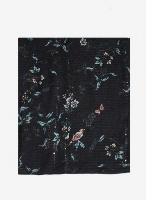 Dorothy Perkins Womens Black Floral Dragonfly Print - Black, Black Scarf