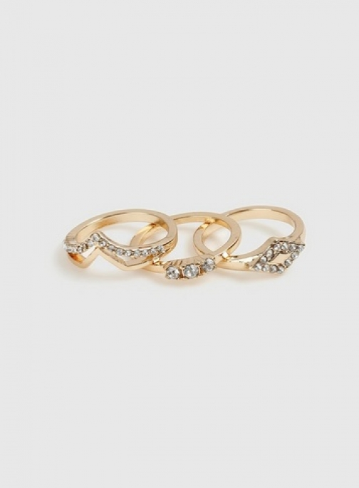 Dorothy Perkins Gold Rhinestone Multipack Ring