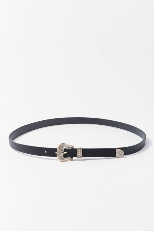 Forever21 Forever 21 Faux Leather Rhinestone , Black Belt