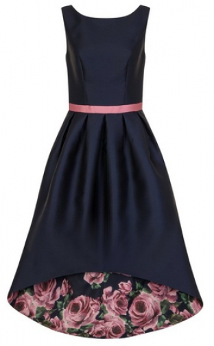 Chi Chi London Navy Floral Print Dip Hem Fit And Flare Dress