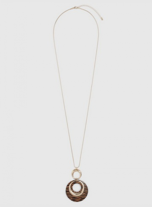 Dorothy Perkins Brown Animal Print Disc Necklace