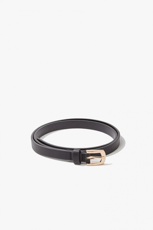 Forever21 Forever 21 Skinny Faux Leather Hip , Black Belt