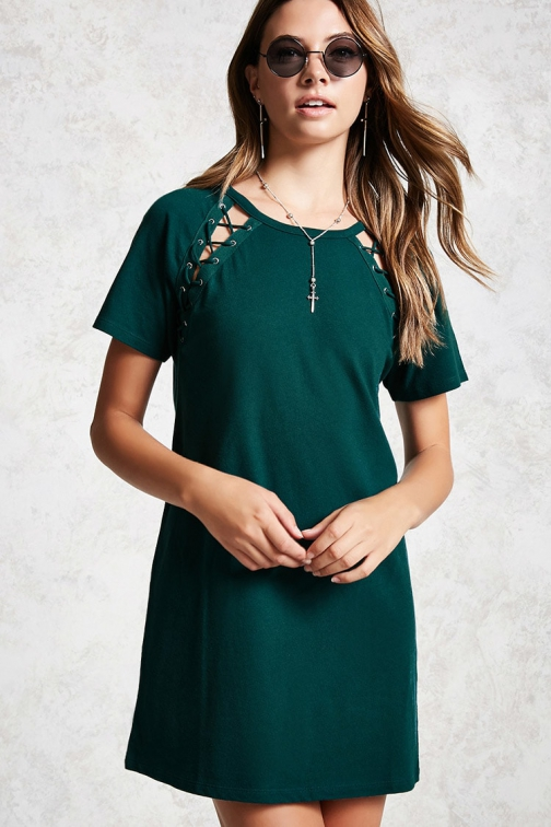 Forever21 Forever 21 Lace-Up T-Shirt Teal Dress