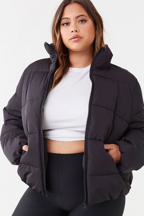 Forever21 Plus Forever 21 Plus Size , Black Puffer Jacket