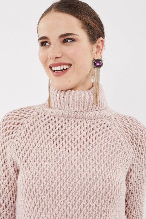 Coast Chunky Roll Neck Sequin Knit Pink, Pink Top