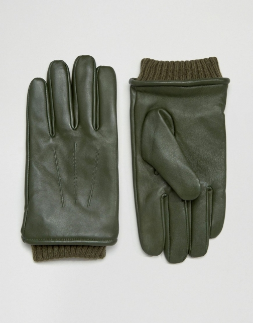 Barney's Originals Barneys Khaki Leather With Cuff Details Glove