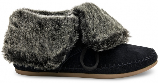 Toms Black Suede Faux Hair Women's Zahara Ankle Boot