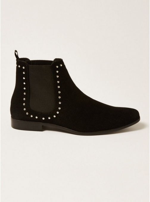 Topman Mens Black Fisco Stud Chelsea , Black Boot