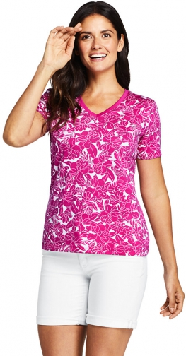 Lands' End Women's Printed Relaxed Short Sleeve Supima Cotton V-neck - Lands' End - Pink - S T-Shirt
