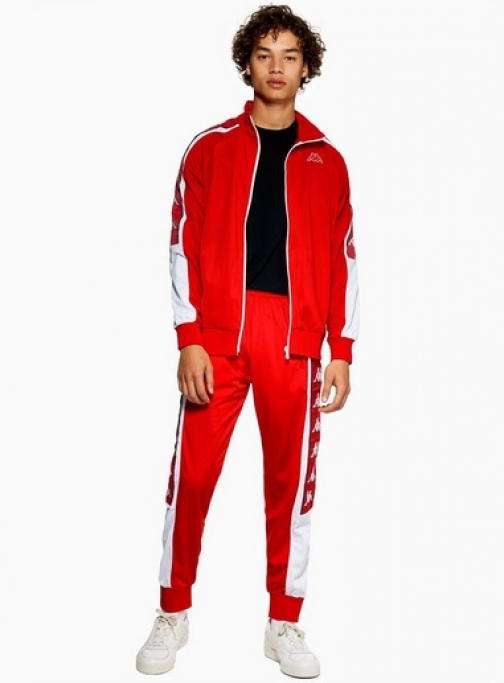 Kappa Mens KAPPA Red 'Alen' Joggers, Red Athletic Pant