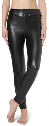 Calzedonia Leather-look With Detail At The Waist Woman Black Size L Legging