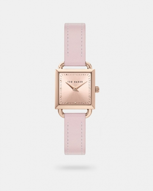 Ted Baker Leather Strap Square Watch