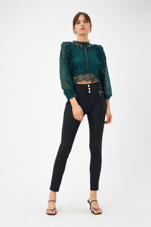 Coast Gold Button Coated Black, Black Jeans