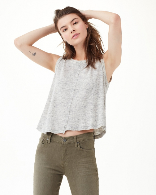 Splendid Women's Cotton Jersey Split Seam Tank Heather Grey Tank Top