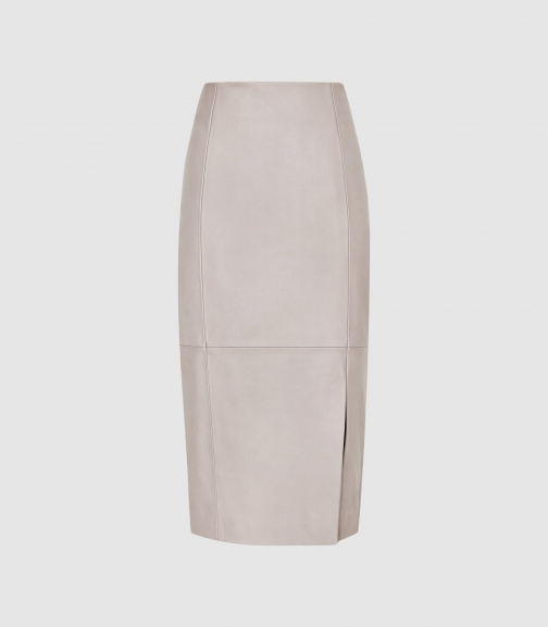 Reiss Grace - Leather Grey, Womens, Size 16 Pencil Skirt