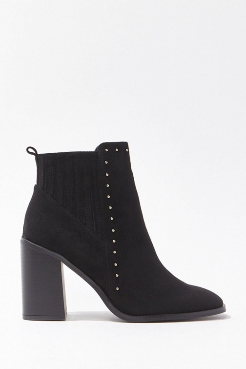 Forever21 Forever 21 Studded Faux Suede Booties , Black Boot