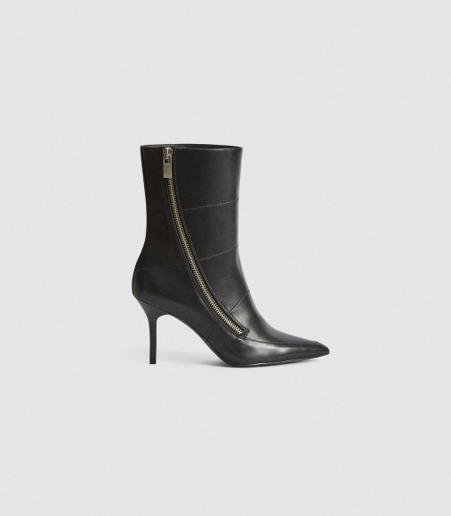 Reiss Hoxton - Leather Point-toe Black, Womens, Size 3 Boot