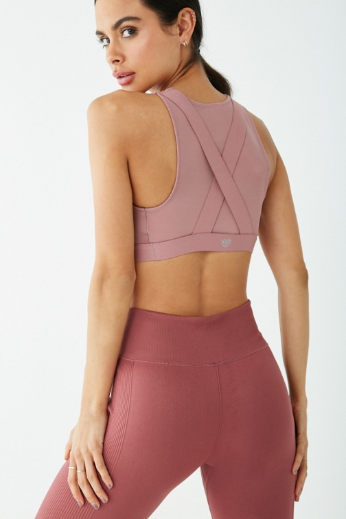 Forever21 Forever 21 Low Impact - Sheer-Panel Sports Mauve Bra