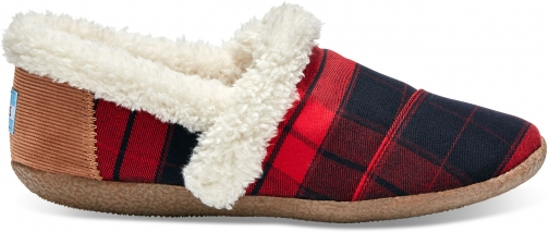 Toms Red And Black Plaid Women's House - Size UK4 / US6 Slipper