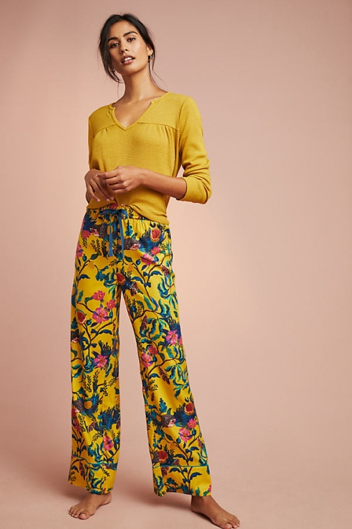 Anthropologie Daina Printed-Flannel Sleep Trousers Trouser