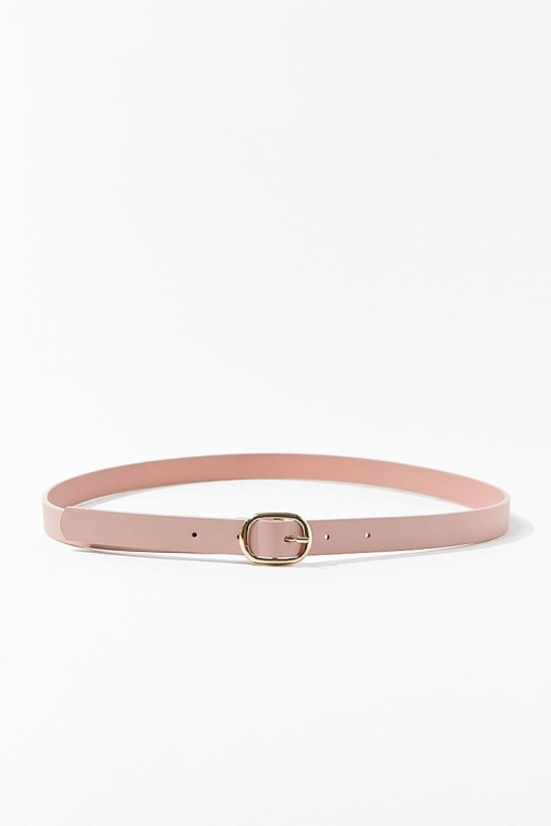 Forever21 Forever 21 Skinny Faux Leather Hip , Blush/gold Belt