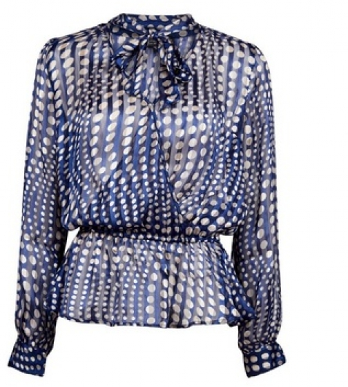 Dorothy Perkins Blue Satin Tie Neck Blouse