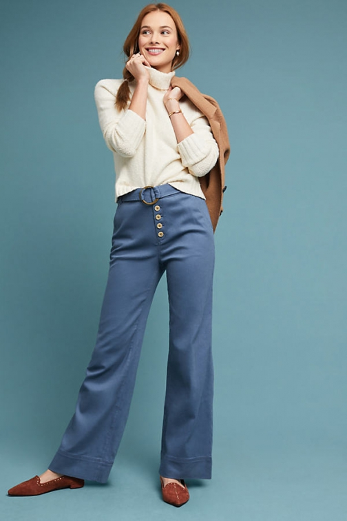 Anthropologie Cassidy Belted Wide-Leg Trousers Wide Leg Trouser