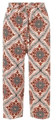 Dorothy Perkins Womens Orange Tile Print - Orange, Orange Cropped Trouser