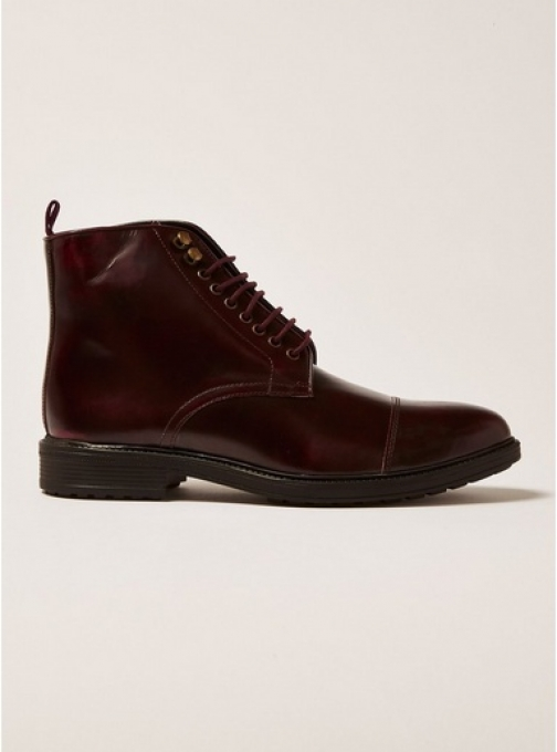 Topman Mens Red Burgundy Leather Baron Lace Up , Red Boot