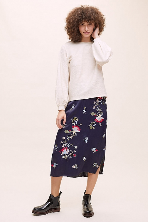 Anthropologie Ayana Floral-Embroidered Skirt