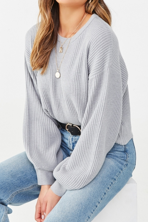 Forever21 Forever 21 Ribbed Balloon-Sleeve Sweater , Heather Grey Sweatshirt