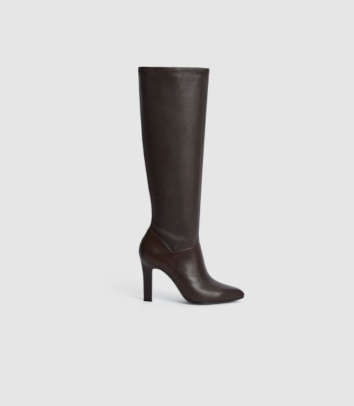 Reiss Cressida - Leather Brown, Womens, Size 4 Knee High Boots
