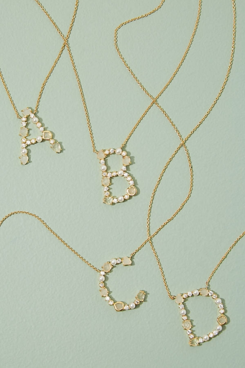 Anthropologie Monogram Jewelled - Assorted, Size T Necklace