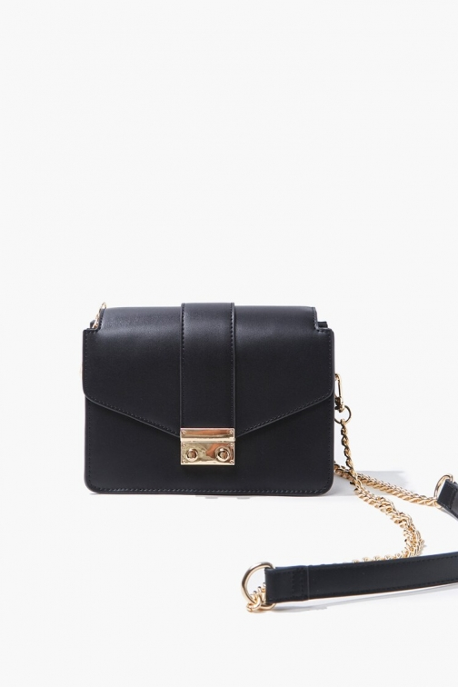 Forever21 Faux Leather At Forever 21 , Black Crossbody Bag