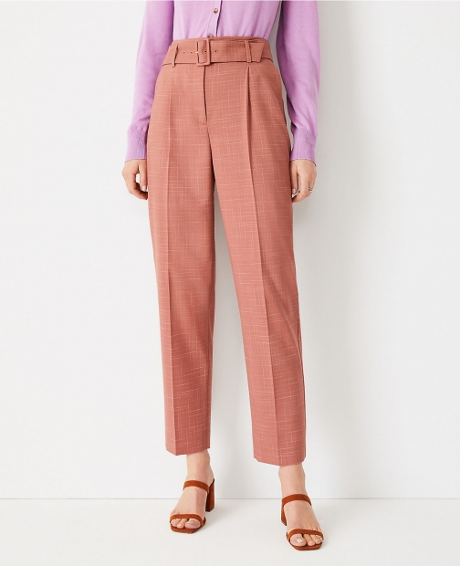 Ann Taylor The Petite Belted Tapered Pant Crosshatch Trouser