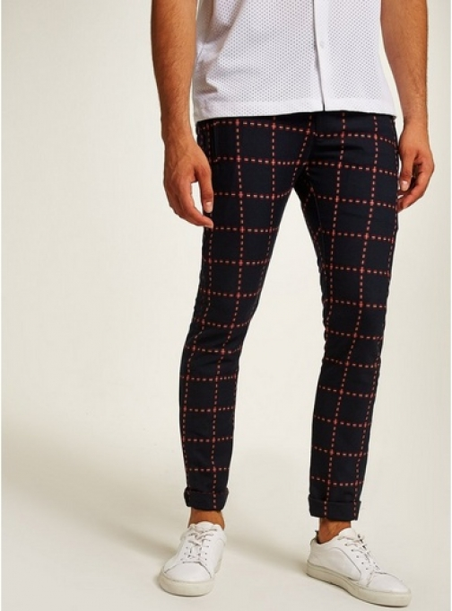 Topman Mens GOLD Navy And Red Criss-Cross Stretch , GOLD Skinny Trouser