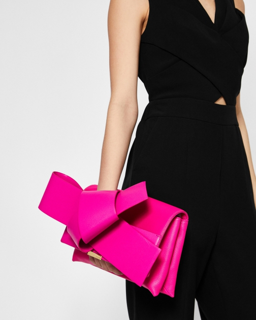 Ted Baker Giant Knot Bow Leather Bag Clutch